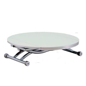 TABLE BASSE TABLE BASSE RELEVABLE RONDE COLOMBIA BLANC