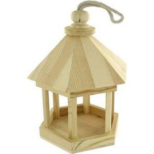 MANGEOIRE - TRÉMIE Mangeoir à oiseau en bois à décorer - Ø 15 cm x h