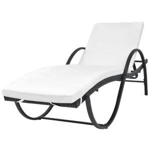CHAISE LONGUE Chaise longue Résine tressée Noir Bain de soleil