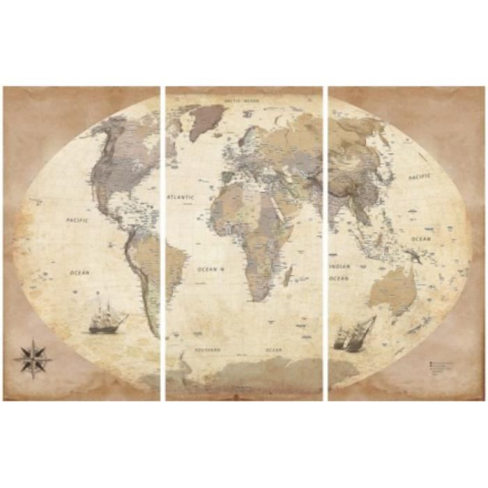 cartes reproduction sur toile carte du monde dition. Black Bedroom Furniture Sets. Home Design Ideas