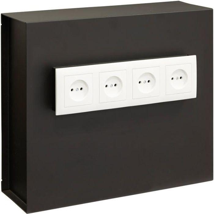 Arregui Socket 23000W-S2 Coffre-fort invisible à emmurer, à cacher derrière 4 prises de courant, 35 x 40 x 13 cm, 15 L