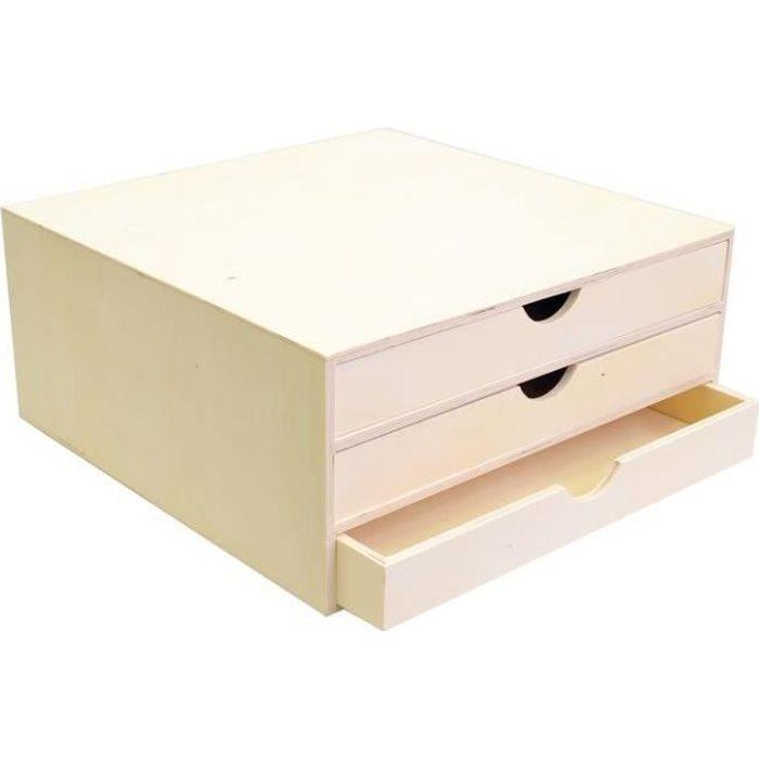Bloc en bois trois tiroirs 34,5x34x15,5cm - Artémio {couleur}