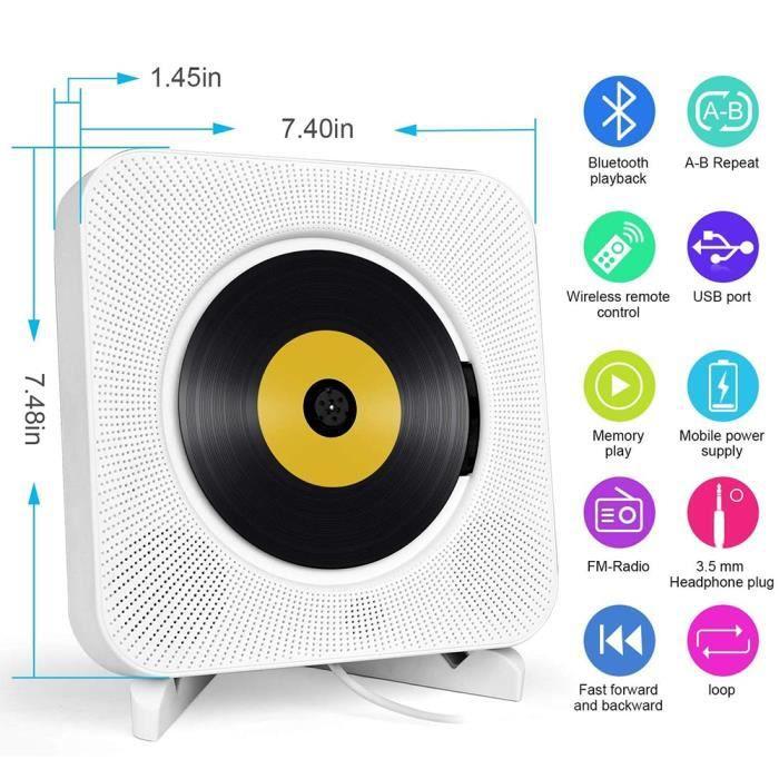 Lecteur CD enfant,Lecteur CD Portable avec Bluetooth, lecteur de musique CD mural Boombox Audio à domicile avec télécommande Radio