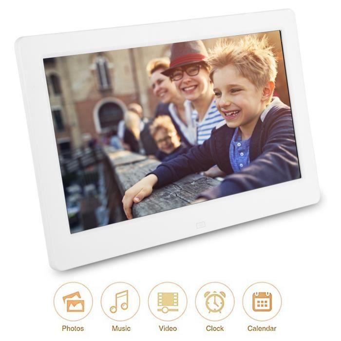 10.1 Pouces 1024 * 600 Cadre photo numérique Réveil Lecteur Album Télécommande Blanc EU