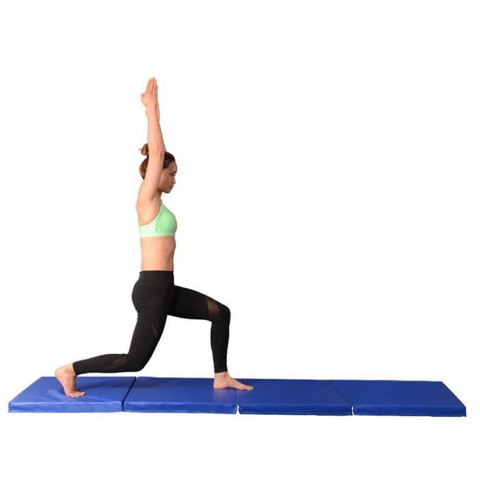 YYiS Tapis de Gymnastique Pliable 240 x 120 x 5 cm Matelas de Fitness Portable Natte de Gym pour Fitness,Yoga et Sport Bleu