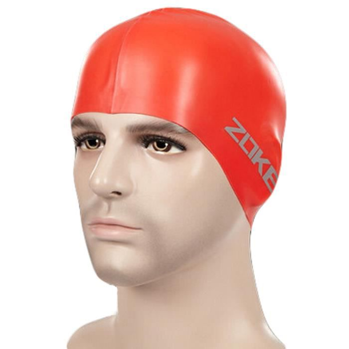 100%silicone étanche Cache-oreilles cheveux professionnel Bonnet de bain,Rouge
