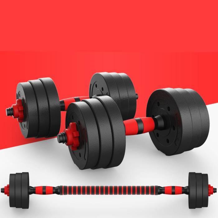 1 paire 20KG d'haltère réglable (barre d'haltère caoutchoutée rouge et noire)