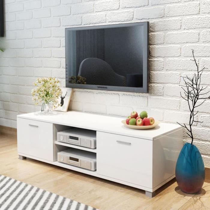 Meuble TV - 2 compartiments avec portes - MDF - 140 x 40,3 x 34,7 cm - Blanc