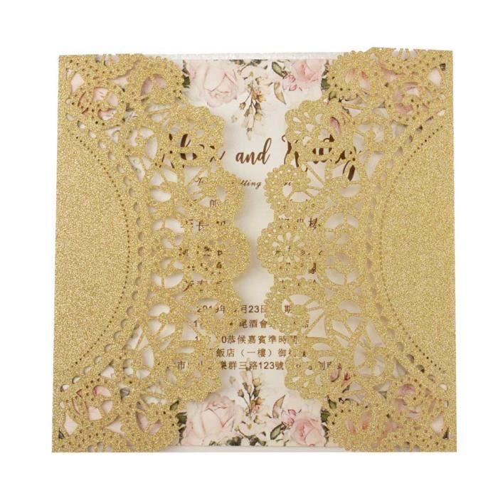 Pochette florale ajourée coupée au laser 1X - Livraison gratuite, Rose marin - Modèle: champagne glitter F blank set - KUYQKPB03081