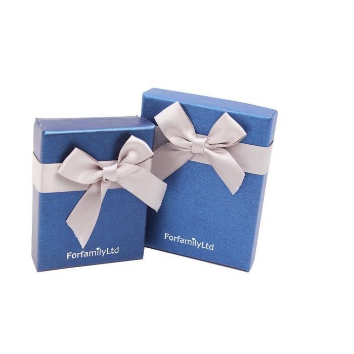 L'étoile de Mer Parure Femme Collier Boucles d'Oreilles Plaqué Or Blanc 18k Cristal SWAROVSKI ELEMENTS Bleu Bijoux Amour
