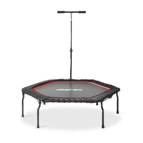 Trampoline de fitness - domicile pliable de 50 -avec barre réglable en hauteur en forme de T- charge max. 120 kg - Ø 127 cm- rouge