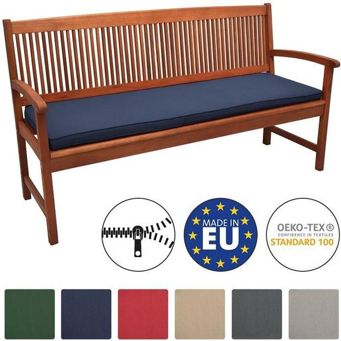 Beautissu Coussin Banc Banquette Loft BK 120x48x5 cm - Bleu foncé - Jardin Terrasse Balcon Extérieur - Haute qualité
