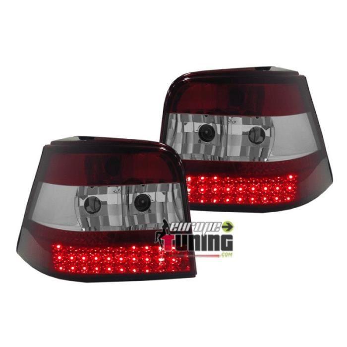 FEUX ARRIERES A LED ROUGES CRISTAL POUR VOLKSWAGEN VW GOLF 4 BERLINE (13190)
