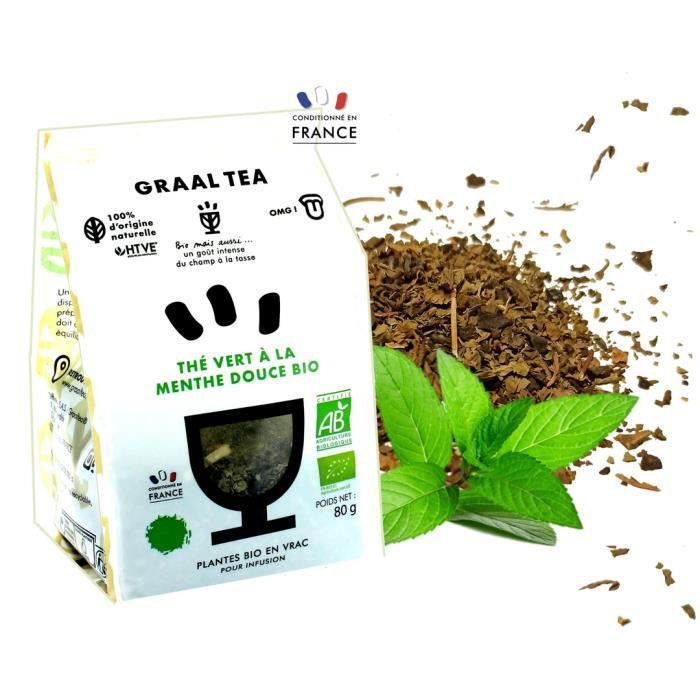 GRAALTEA - Thé Dégustation - Thé vert à la menthe douce BIO en Vrac - 100% d'Origine Naturelle - Made in France - 1 Paquet x 80 gram