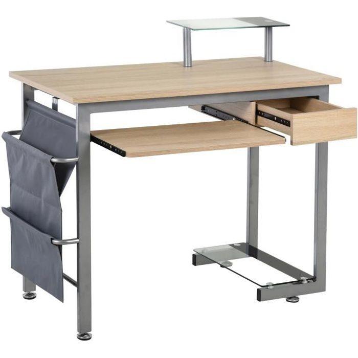 Bureau informatique multimédia multi-rangements design contemporain acier MDF chêne clair 105x50x90cm Beige