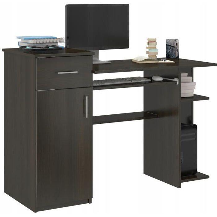 BERGEN - Bureau d'ordinateur - 120x76x50cm - Bureau ordinateur PC - Support clavier + étagère imprimante - Wengé