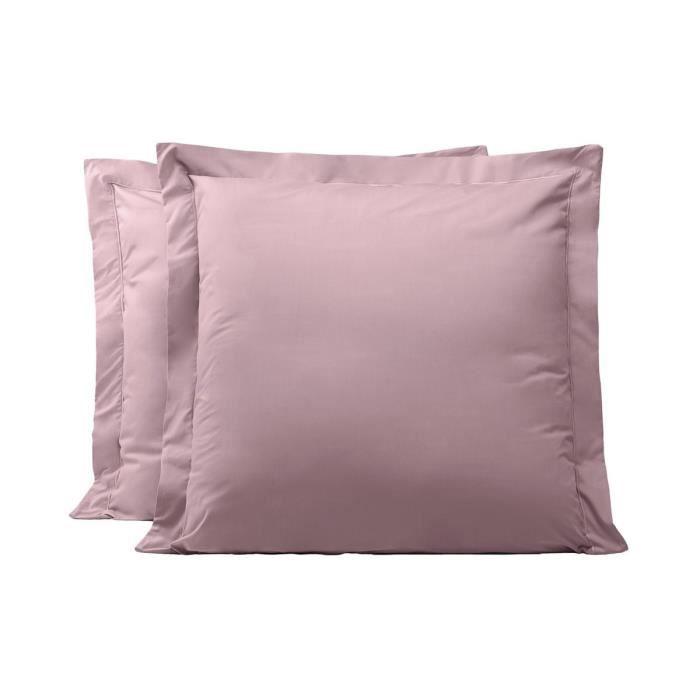 LINANDELLE - Lot de 2 taies d'oreillers coton percale 200 fils DESIREE - Violet - 50x70 cm