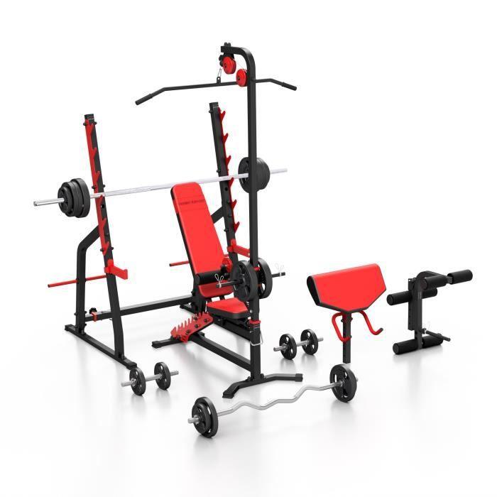 Marbo Sport Set MS36_189KG_KIER_G - Banc de musculation, support, bureau curl, extension de jambe, tirage lat, barres / plaques...