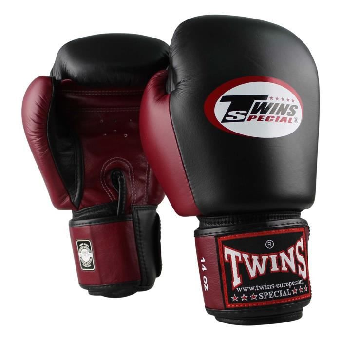 -Gants de boxe Twins en cuir-12 oz-Noir et Rouge-12 oz--12 oz-Noir et Rouge--------------Noir et Rouge-12 oz