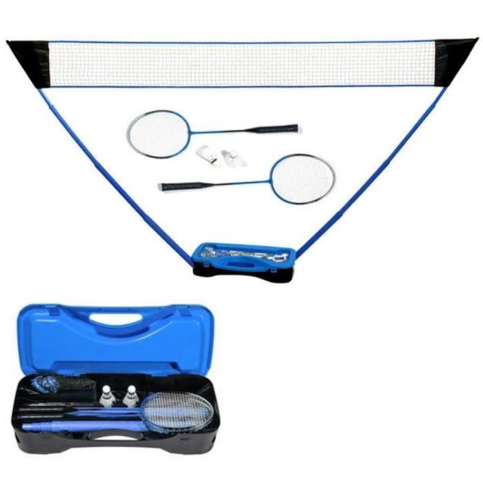 Set de Badminton complet avec filet 295 x 38 x 154 cm, raquettes, volants et étui de rangement Bleu