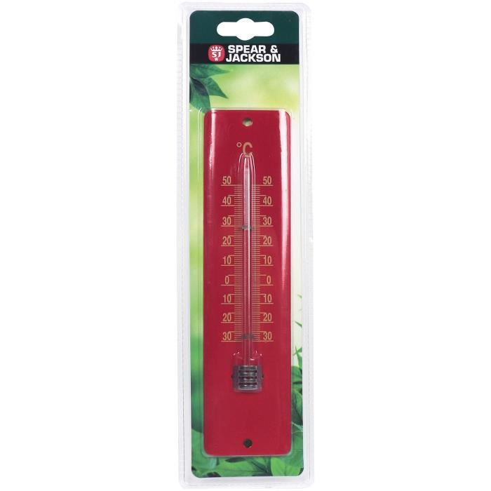 SPEAR & JACKSON Thermomètre métal 20 cm - Cranberry