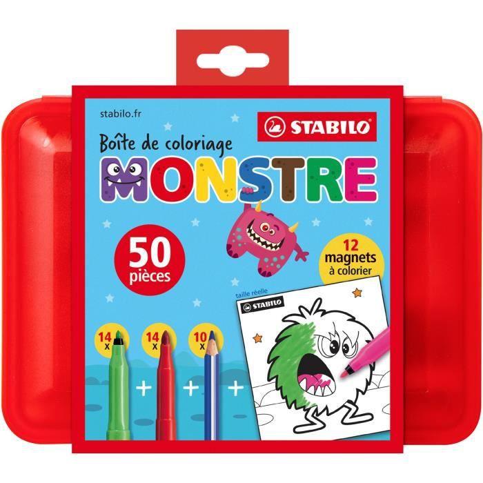 Boîte de coloriage MONSTRE STABILO x 50 pièces coloriage : 28 feutres + 10 crayons de couleur+ 12 magnets -monstres- à colorier