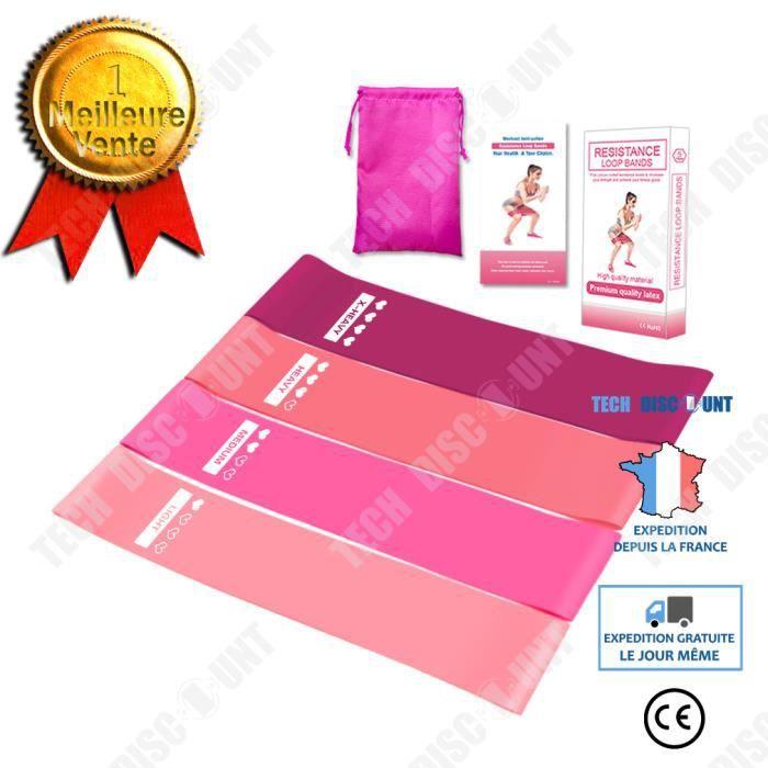 TD® costumes roses(4 barres)- Bandes de résistance ensemble entraînement gymnastique Sport maison exercice Tube bandes élastiques