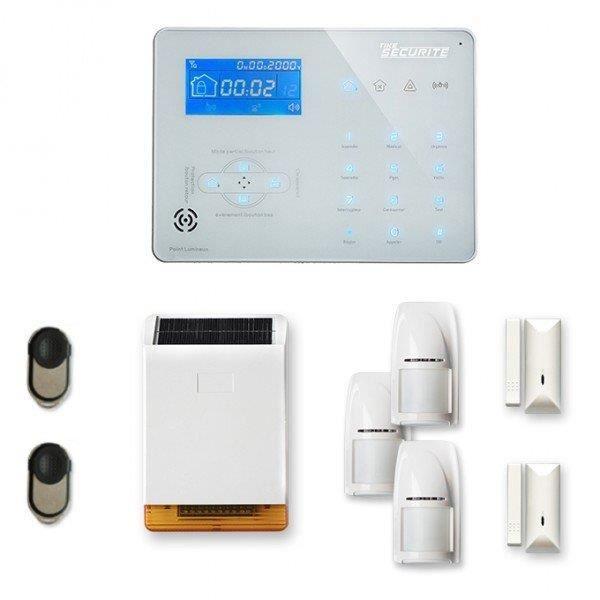 Alarme maison sans fil ICE-B 2 à 3 pièces mouvement + intrusion + sirène extérieure solaire - Compatible Box internet et GSM