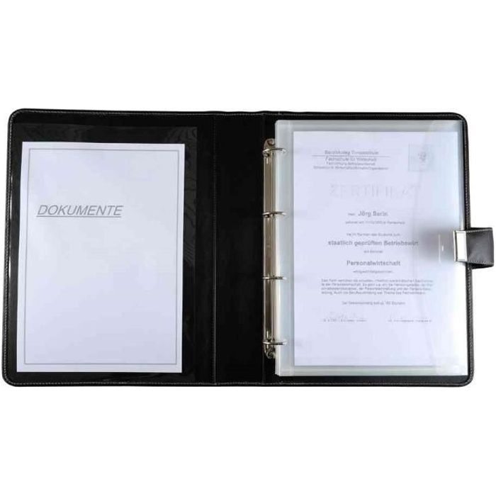 Porte Document Format A En Cuir Noir Noir Transparent Achat - Porte document a4