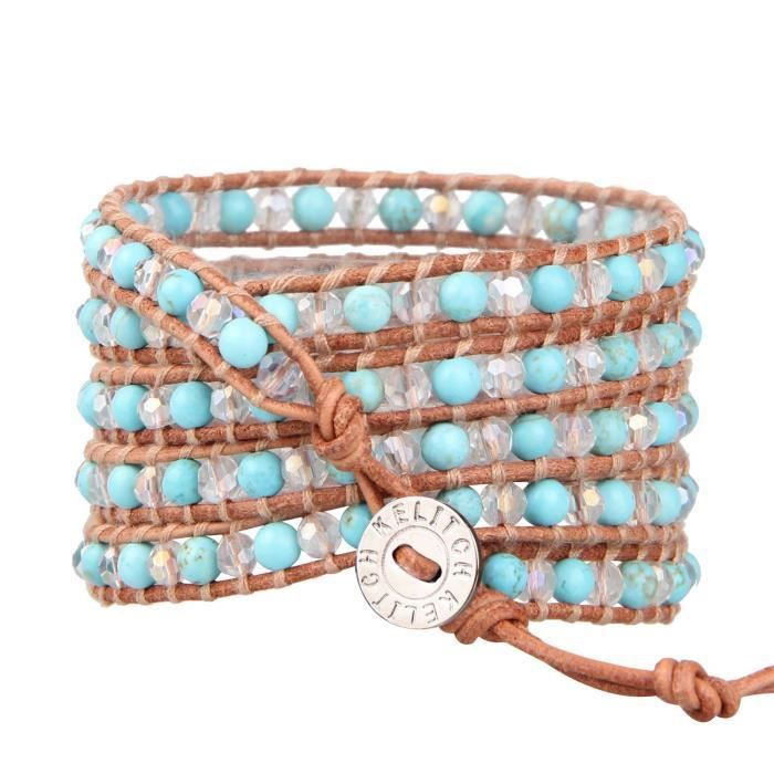 Womens Various Semi-precious Stones And Crystal Bead Two Tone Bracelet For , 5 Wraps Leather PK52S