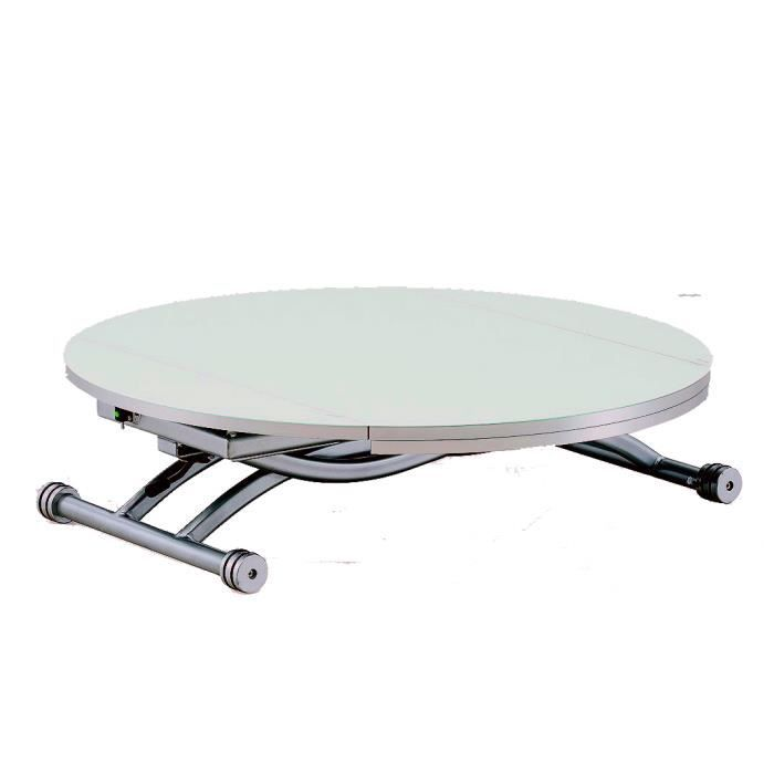 Table basse relevable ronde colombia blanc achat vente for Table basse ronde blanc
