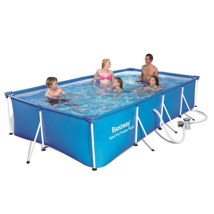 Bestway piscine tubulaire rectangulaire splash frame pool for Piscine 4x2