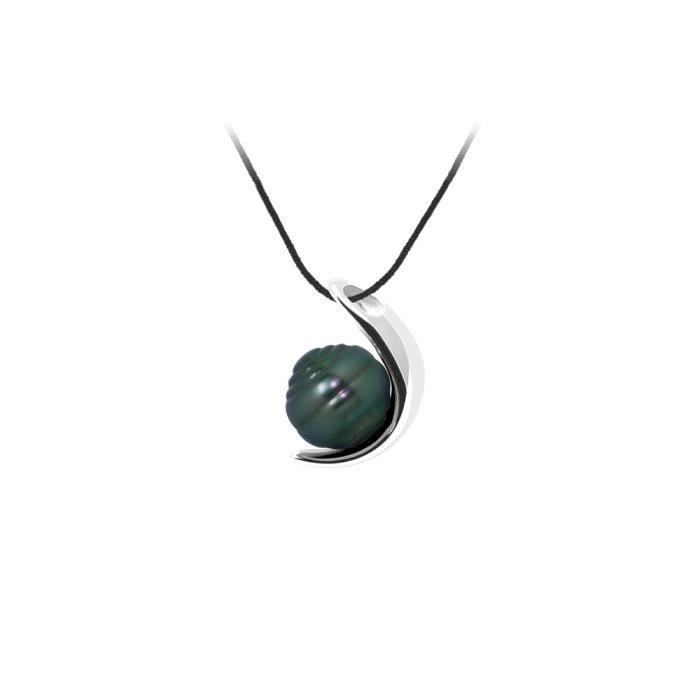 SAUTOIR ET COLLIER Collier Mixte en Coton noir, Pendentif Lune Perle