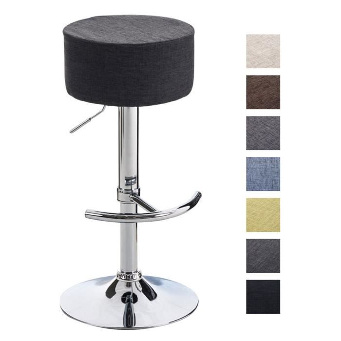 clp tabouret de bar rond wien rev tement en tissu pivotant et r glable en hauteur 57 77 cm. Black Bedroom Furniture Sets. Home Design Ideas