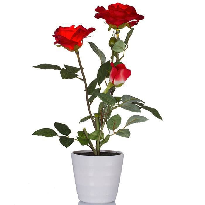 Plante artificielle rosier lumineux roses rouge achat for Plante lumineuse