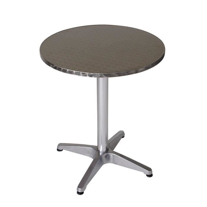 table bistrot ronde alu 4 pieds fonte d 39 aluminium plateau inox mdf r sistante aux intemp ries. Black Bedroom Furniture Sets. Home Design Ideas
