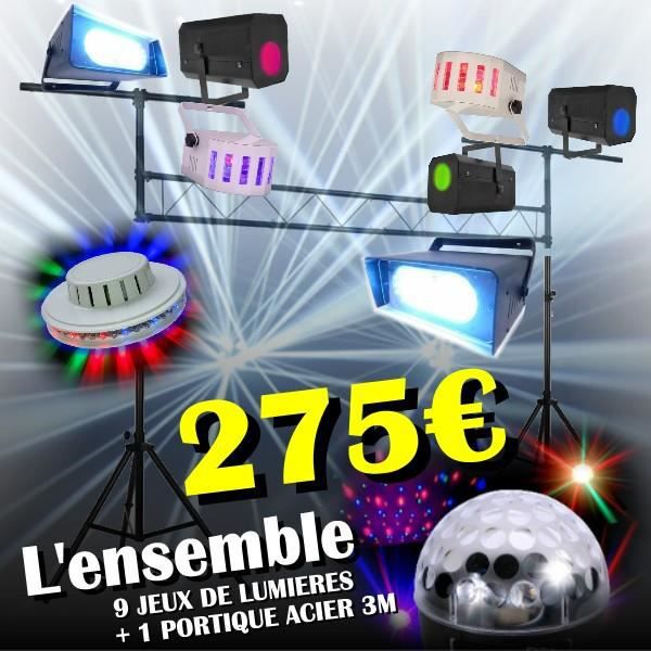 9 jeux de lumi re 1 portique acier 3 m pa dj led light sono pack lumi re avis et prix pas. Black Bedroom Furniture Sets. Home Design Ideas