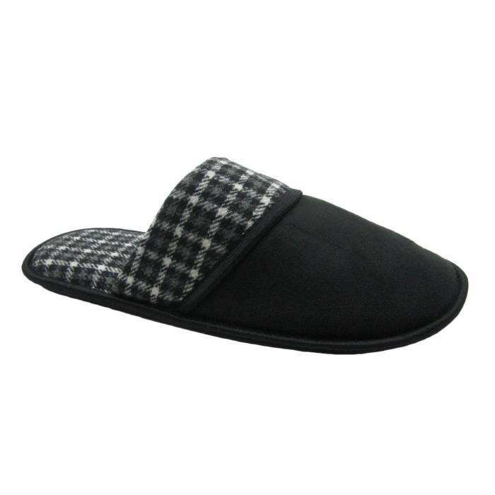 Micro-suede Or Plaid Upper Scuff House Slipper U845A Taille-42