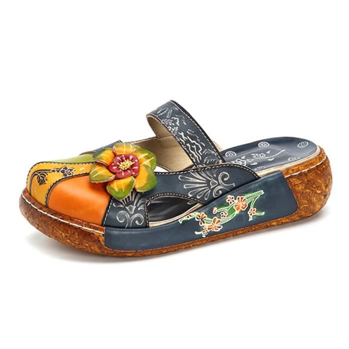 Cuir Slipper, cuir Oxford Slipper Vintage Slip-on Colorful Fleur Backless Mocassins KA9RN Taille-39