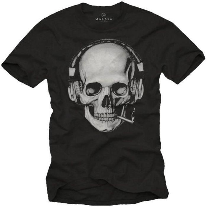 Tee Shirt Tete De Mort Homme Swag Musique Rock Skull Avec Casque Noir Xxl