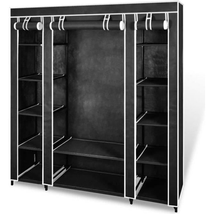 armoire de rangement noire dressing penderie xxl tissu. Black Bedroom Furniture Sets. Home Design Ideas