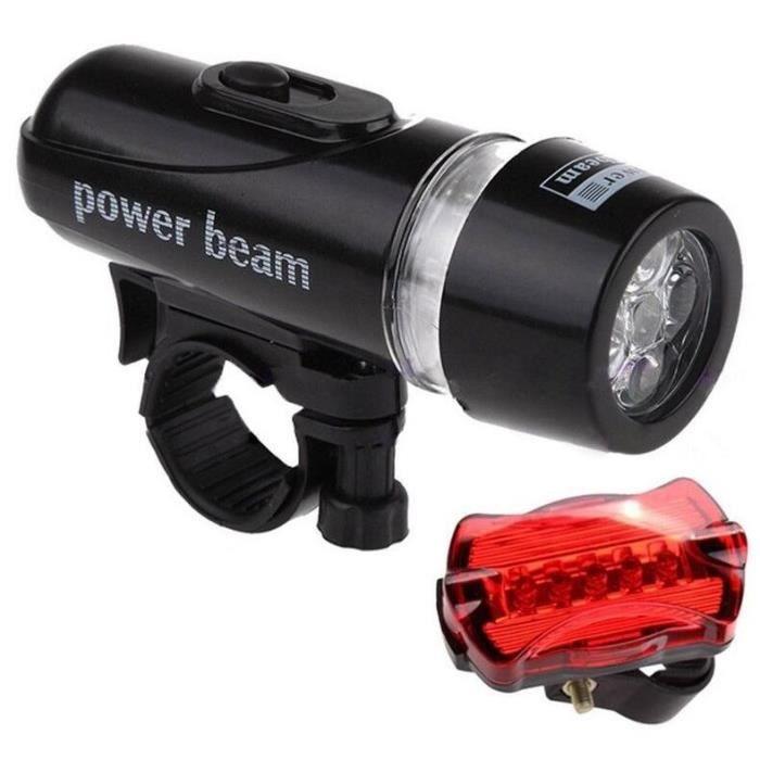 LED Lampe de Vélo Lampe Frontale Éclairage Phare Lampe de Poche Feu Arrière Set
