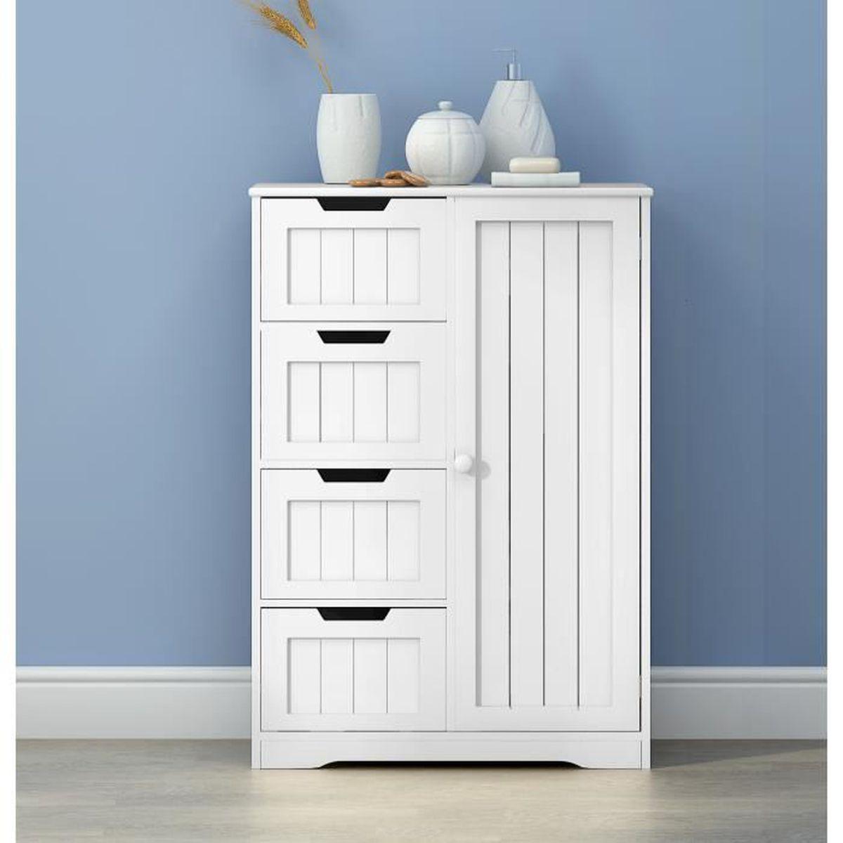 Commode Petite Profondeur 30 Cm commode de meuble de rangement en mdf + bois avec 4 tiroirs + 1 porte sur  salon, chambre, bureau salle de bains, 30 x 60 x 81 cm