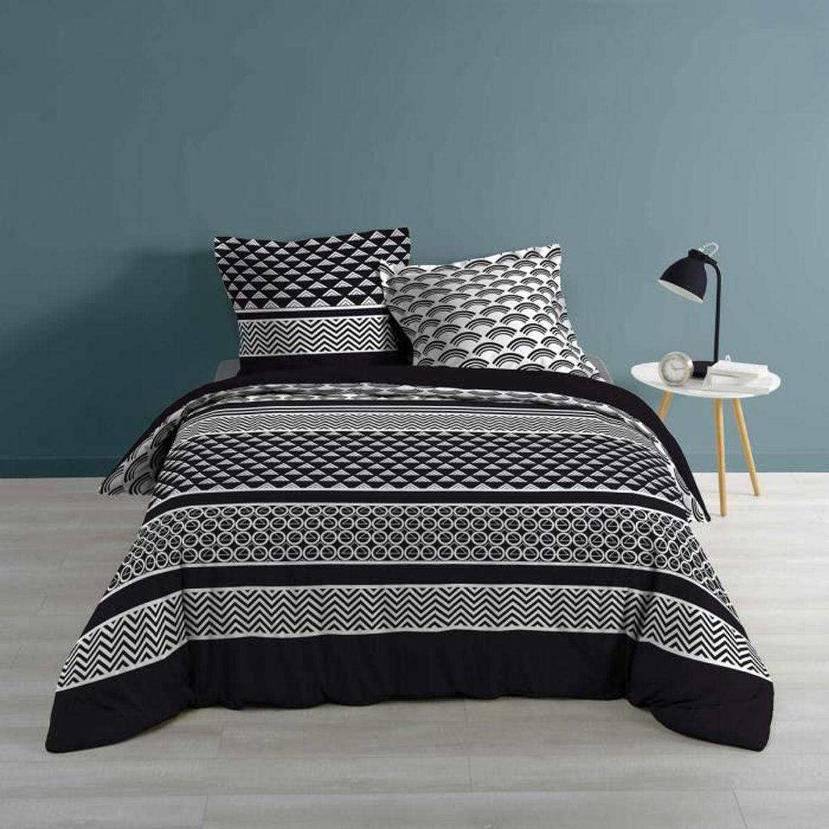 Housse De Couette Noir Blanc Gris parure de lit sansio 260x240 - achat / vente housse de