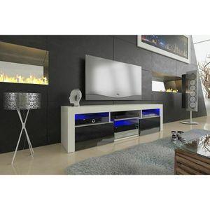 MEUBLE TV Meuble tv blanc mat et noir laqué 160 cm + led RGB