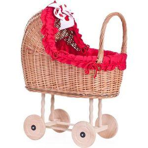 LANDAU - POUSSETTE Poussette pour poupée, Landau en tissu rouge et ro