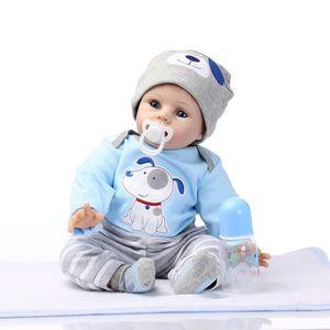 POUPÉE 55cm mignon bébé Poupée Poupon Bleu Bébé Reborn en