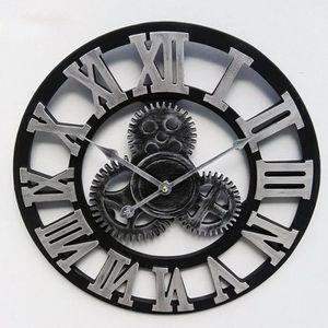 HORLOGE - PENDULE Horloge Murale Gear Clock Rétro 3D Décoration de S