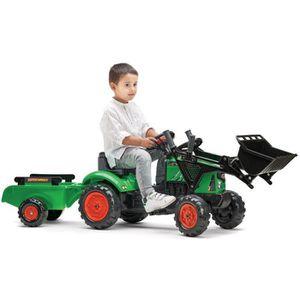 TRACTEUR - CHANTIER FALK - Tracteur à pédales Supercharger vert avec p