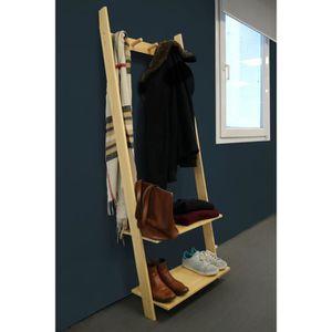 PENDERIE MOBILE Portant échelle ELLA Pin massif - L60 x H160 cm